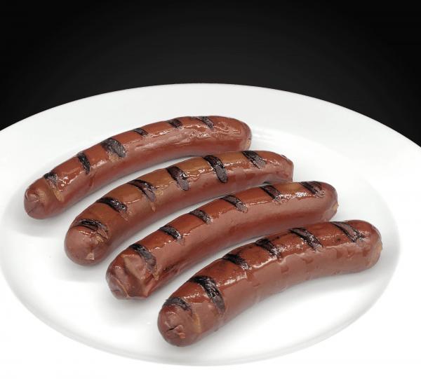 Gegrillte BBQ Rindwurst von der Seite