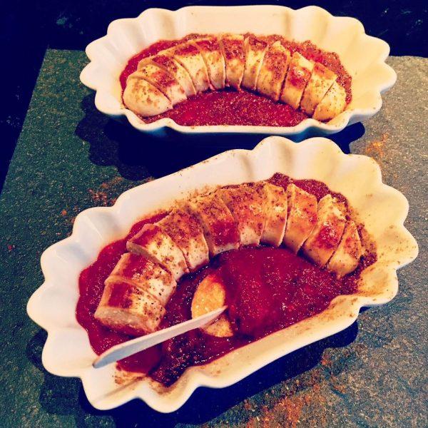 Geflügelbratwurst als Currywurst