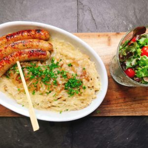 Rezept gesunde Spätzle mit leckeren Nürnberger Würstchen